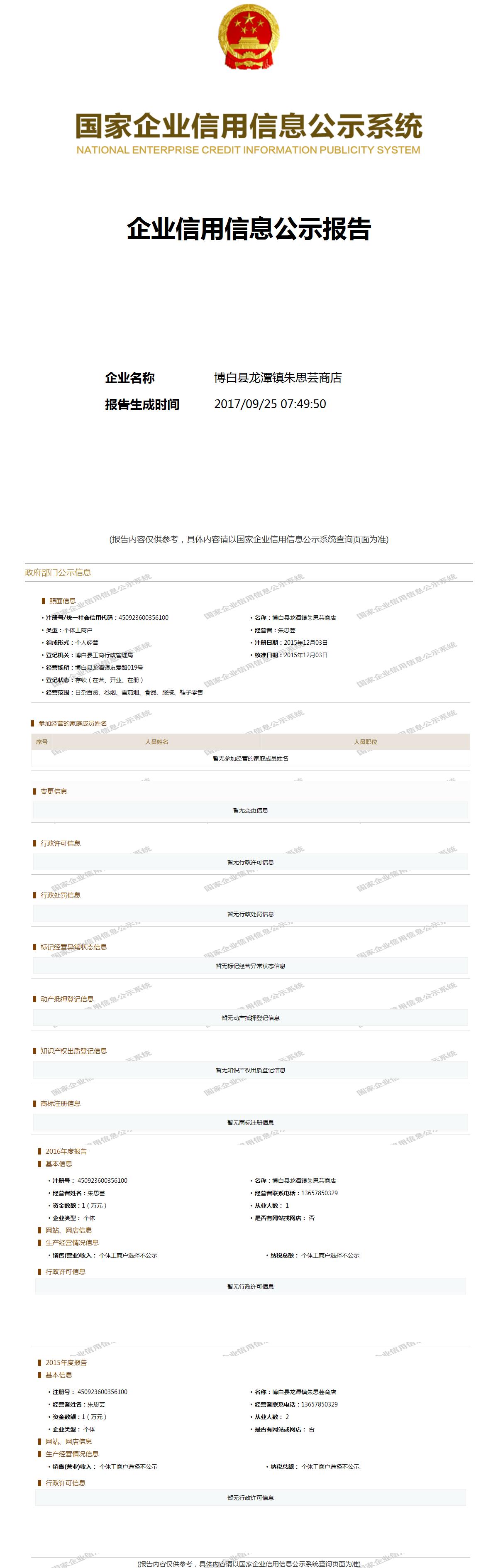 博白县龙潭镇朱思芸商店 - 工商官网信息快照