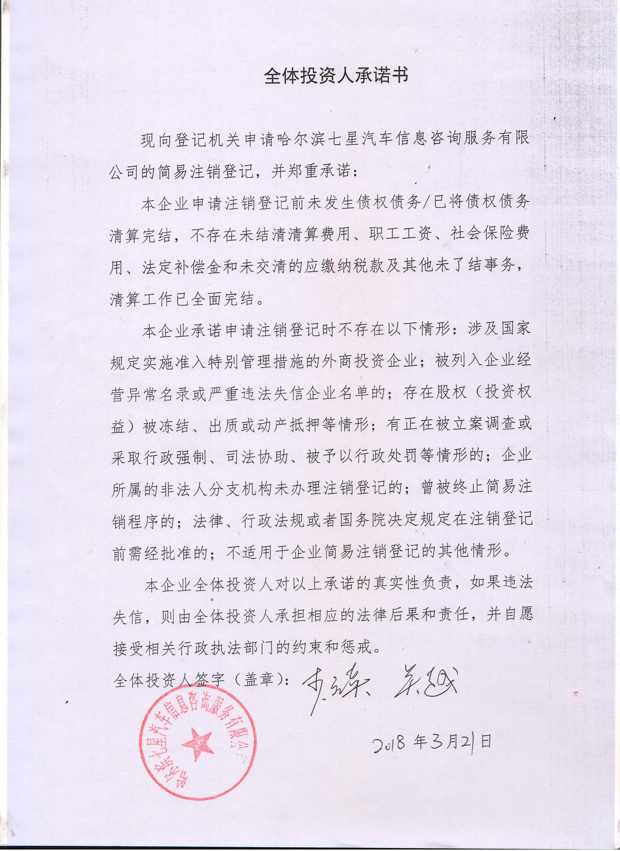 哈尔滨七星汽车信息咨询服务有限公司